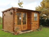 Image showing the log cabin on the caravan site